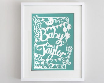 8 1/2 x 11 in Custom Papercut for Baby shower, Birthday, nursery decor and gift
