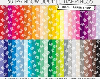 Double Happiness Digital Paper, Chinese Character Good Luck, Asian Happy New Year Digital Graphics, Wedding, Chinese Design PNG Files