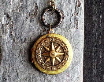 Compass rose locket, brass locket, nautical star locket, compass necklace, holiday gift ideas, gift ideas for mom, unique Christmas gift