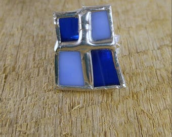 Blue stained glass ring