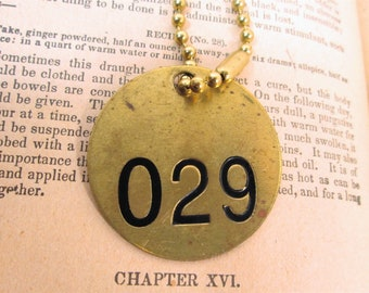 Vintage Brass Cattle Tag on Chain, Number 29, Round Cow Key