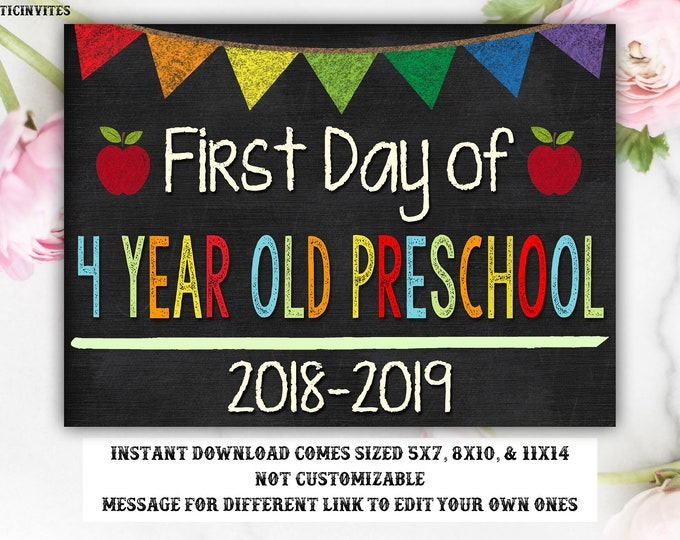 First Day of School Sign, First day of Preschool Sign, School Chalkboard Sign, INSTANT Download, Printable, Photo Prop, First Day Sign