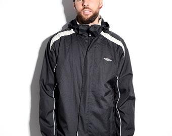 UMBRO vintage sport jacket | 90's style black men's shell jacket | Windbreaker sport rain coat | Size - L