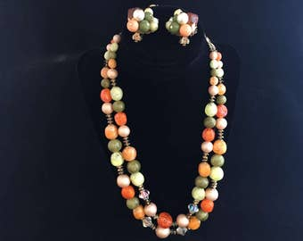 Vintage 2-Strand Multicolored Jewelry Set