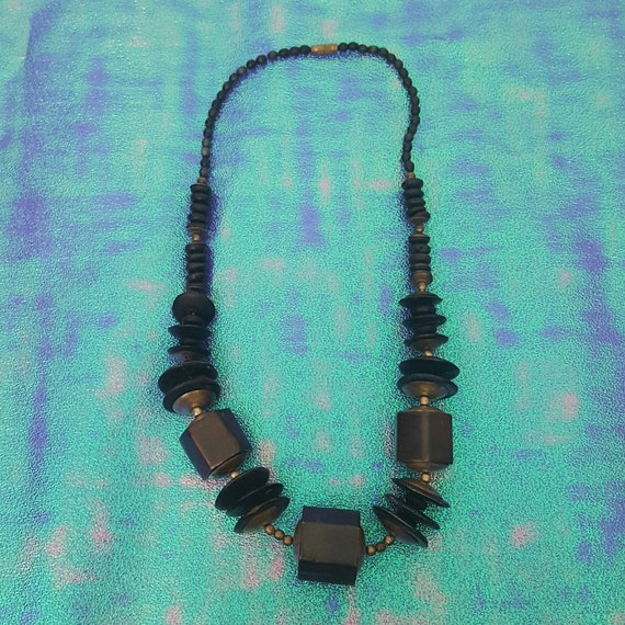 80's Black & Brass Tone Statement Necklace - Vintage Retro Chunky Necklace Beads Metal Round Pendants Statement Jewelry Black Golden Beads