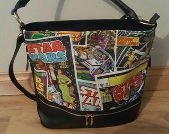 star wars comic themed handbag - han, luke, leia, chewie, vader - hand made