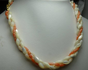 """Mother of Pearl and Angel skin Coral three strand torsade necklace- 21 grms- 15"""" long- 5mm beads- 2340"""