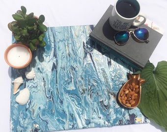 Caribbean blue and metallic gold marbled art canvas