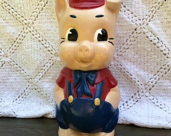 Vintage Piggy Bank Porky Pig Ceramic Old Plaster Clay