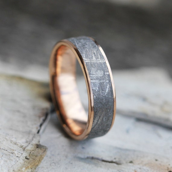 meteorite wedding ring gibeon meteorite ring 14k gold wedding band space 5848