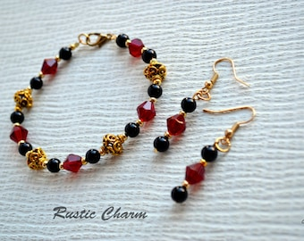 Red and Gold Crystal and Glass Pearl Bracelet and Earrings Set