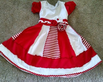 Ladybug, Fairytale Dresses, Red and White Dress, Candy Cane dress, Children's Dress Size 4/5, Kids girls dress, dress up, Christmas dress