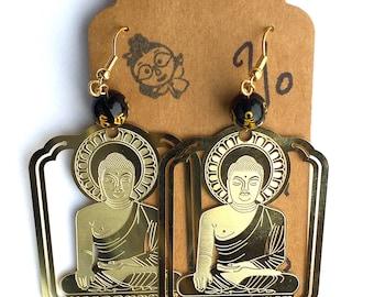 Buddha Earrings, Sitting Buddha Earrings, Ohm Earrings, Yoga Earrings, Meditation Earrings, Statement Earrings