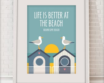 Life is better at the Beach, Branksome Beach, Love Dorset collection