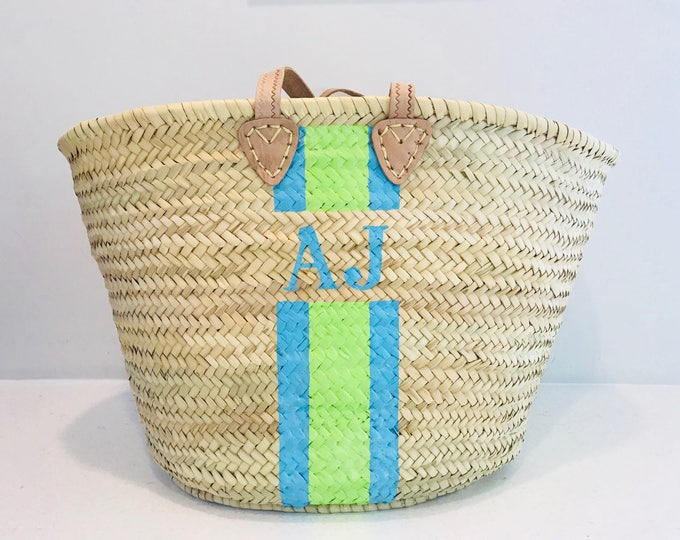 Featured listing image: Ibiza - Monogrammed Straw Basket