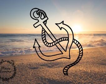 Anchor Decal - Anchor Sticker - Nautical Sticker - Decal Sticker - Boat Decal - Laptop Stickers - Car Decal - Cute Anchor - Beach Sticker