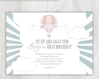 Printable invitation - Hot air balloon invitation (style 1) - First birthday invitation - Child's party - Baby shower - Customizable