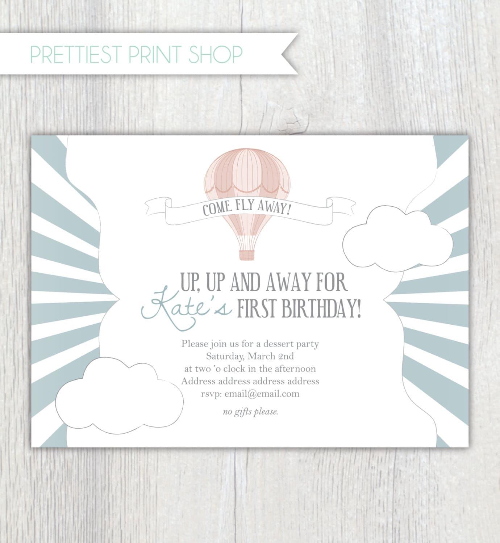 Printable invitation Hot air balloon invitation style 1