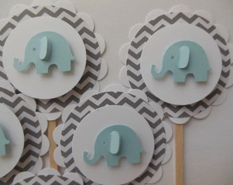 Elephant Cupcake Toppers - Blue and Gray Chevron - Boy Baby Showers - Boy Birthday Party Decorations - Set of 6