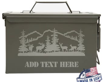 Customized Ammo Can Box Best Gift for Hunters Personalized Father's Day Gift Groomsmen Bestman Deer Grazing In the Forest