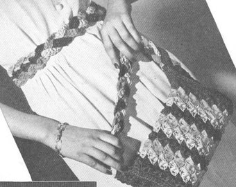Vintage 1940s Braided Crochet Belt and Bag Pattern PDF 4604 Plus 4601