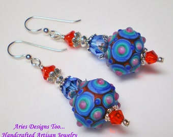 Sapphire Blue and Red Abstract Lampwork Earrings, Funky Blue and Red Lampwork Drop Earrings,Colorful Red and Blue Earrings