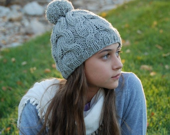 Ready to ship wool hat, warm winter hat with pom, soft washable wool beanie, hat for women and men, hand knitted cable beanie, gift for her