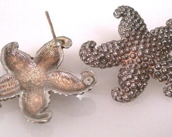 Hello 80's Starfish Sterling Taxco Earrings Pierced TM-90 18.19 Grams