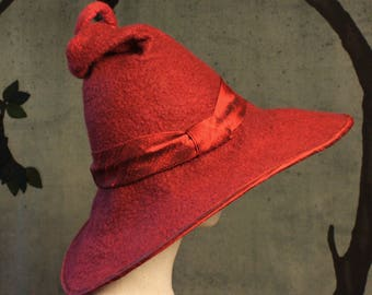 Witch or Wizard Hat - Red Witch or Wizard Hat  - Curly Witch or Wizard Hat - Wide Brimmed Witch or Wizard Hat