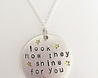 Look How They Shine For You - Hand Stamped Necklace - Star Necklace - Quote Necklace - Quote Jewelry - Hand Stamped Jewelry - Gift For Her