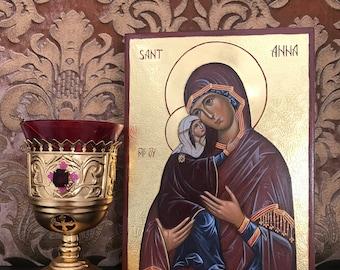 Saint Anna, the mother of the Theotokos icon, hand painted icons, iconography, iconographer, icon studio