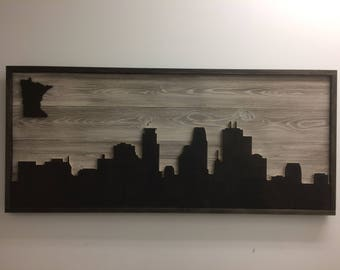 Wooden Minneapolis Skyline