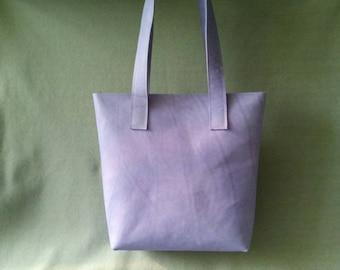 Leather Shopper color lavender, leather bag, handmade