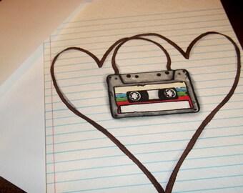 Love Greeting Card LoFi Cassette Tape  Retro Heart 5x7 by Agorables 1980s Romantic Valentine's Day