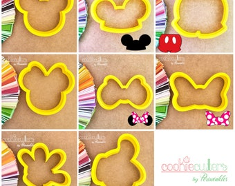 Minnie and Mickey Cookie Cutters - Ears - Shorts - Minnie Bow - Glove  Cookie Cutters  - Periwinkles
