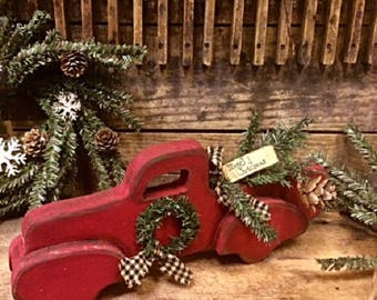"""Primitive Iconic """"Little Red Truck"""" Handmade Wood Rustic Holiday Decor"""