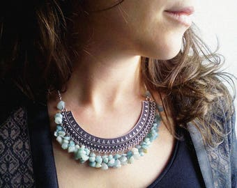 Necklace 'Nadia' VI -Silver pectoral and amazonite gemstones - Boho chic, statement necklace, ethnic necklace - Handmade jewelry