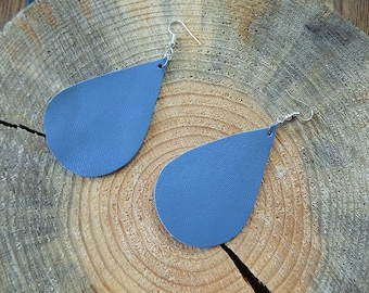 Blue-grey leather earrings, genuine leather earrings, long earrings, leather jewelry, teardrop earrings, drop earrings, lightweight earrings