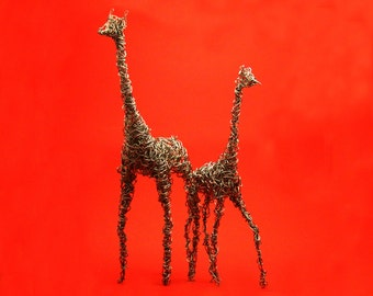 silver giraffe set of 2 made from aluminum wire nimals  metal statue wire art wire bending twisting wrapping wrap figurineFREE SHIPPING