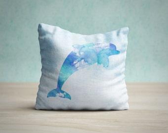 Dolphin Pillow Case, Dolphin Cushion, Dolphin Pillow Cover, Nautical Pillow, Ocean Nursery Decor, Sealife Pillow, Beach House Decor, Coastal