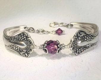 "Antique Spoon Bracelet, Spoon Jewelry, Amethyst Swarovski Crystals, ""Vintage Grapes"" 1904, Wine Lover Gift"