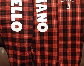 SALE - 15% off! ~ Plaid Flannel Jogger Pants - PERSONALIZED - Red, Black & White - Christmas Pajamas - Dorm - Plaid - Comfy Pants