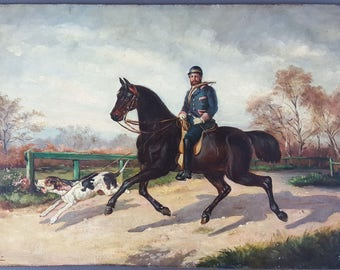 "Antique Painting ""Horserider Chasing"" Oil On Panel Original Old Vintage"