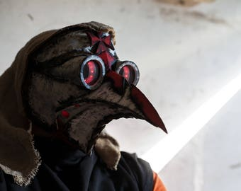Plague Doctor Mask Templar Halloween Costume Cosplay LED SteamPunk Cyberpunk scifi light up face masks Bird Scary Prop Dr. Dr Doctor's mask