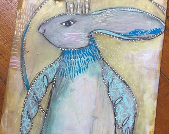 Original Bunny of Blue with Magical Wings Painting
