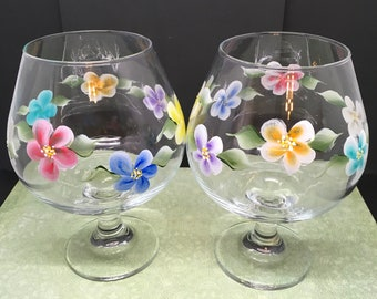 Brandy Sniffers Floral Hand Painted Set of Two Red Blue Yellow Purple Orange and Aqua Flowers Barware Bar Decor Drinkware One of a Kind Gift
