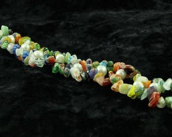 Rainbow stone chip & pearl bracelet