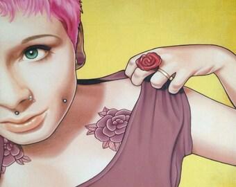 ORIGINAL ARTWORK - 'Bohemian Rose' - Mixed Media - Kirrily Duff
