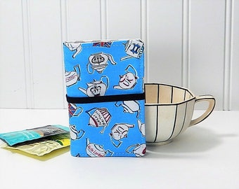 Tea wallet - British teapot tea caddie - blue wallet for teabags - gift for tea lover - tea drinker gift