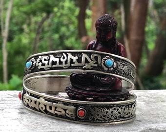 Ohm Mantra Bracelet Cuff with Stones